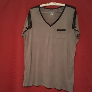 Grey v neck with faux leather detail